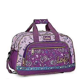 Lois - Printed children's sports bag. With double handle and shoulder strap. External compartments. Cart tape. For College Travel Gym etc. 130245 Color Purple