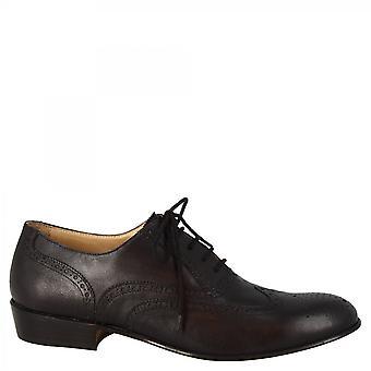 Leonardo Shoes Women's handmade classy brogues oxford shoes black goat leather