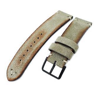 Strapcode الجلود ووتش حزام 20mm، 21mm، 22mm ميلتات الرمادي الأخضر الأخضر الحقيقي حزام ساعة الجلود nubuck، خياطة البيج، مشبك الكهروضوئية