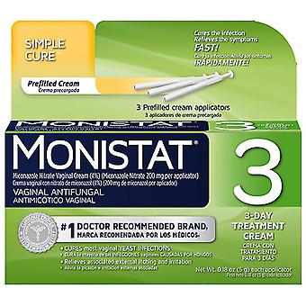 Monistat 3 vaginal antifungal cream, prefilled applicator, 3 ea
