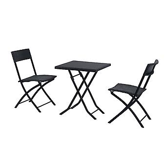 Outsunny Rattan Garden Furniture Bistro Set Outdoor Patio Coffee Set 2 Wicker Weave Folding Chairs and 1 Square Table (Black)