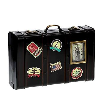 WM Widdop Novelty Collectors Ornament Vintage Luggage/Suit Case With Destination Stickers In Classic Brown Enamel - (9608)