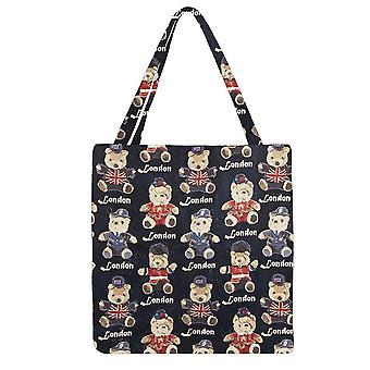 London bear gusset bag | stylish foldable shopping bag | guss-lnbe
