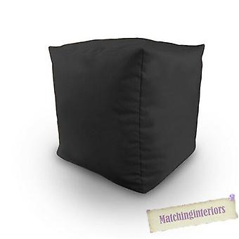 Matching Bedroom Sets Cotton Twill Bean Cube Footstool Pouffe in Black, Filled with Fire Retardant Polystyrene Beads
