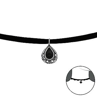 Pear - 925 Sterling Silver + Velvet Chokers - W37128x