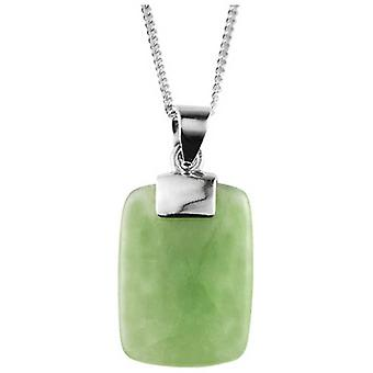 Orton West Jade Rectangle Pendant - Silver/Green