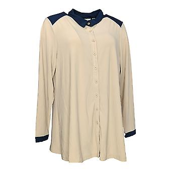 Linea by Louis Dell'Olio Women's Top Crepe Button Front Shirt Beige A273300