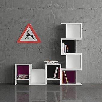 Libreria Piu Color Bianco, Nero, Viola in Truciolare Melaminico 29x25x40 cm