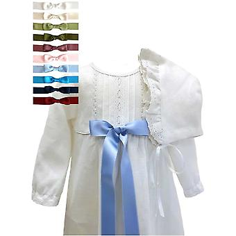 Christening Gown - Grace Of Sweden - White With Long Sleeve And Bonnet. 10 Bows Options