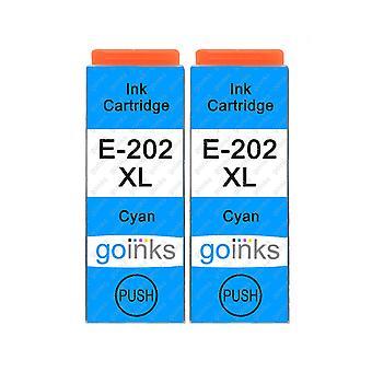 2 Cartucce di inchiostro ciano per sostituire Epson 202XLC Compatibile/non OEM da Go Inks
