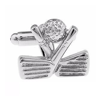 Silver Golf Clubs Cufflinks Present Tee Club Course Links Hole in One Course