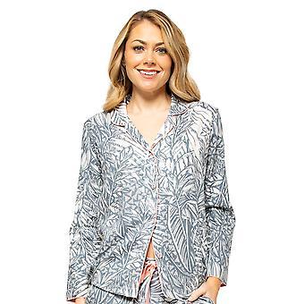 Cyberjammies Hallie 4520 Women's Grey Mix Leaf Print Pyjama Top