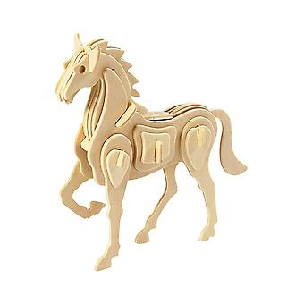 Childrens 3D Wooden Horse 18cm Self Assembly Craft Kit