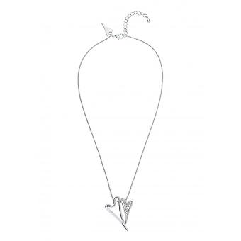 Miss Dee Silver Plated Double Crystal Heart Necklace