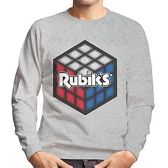 Rubik's rood wit en blauw kubus mannen Sweatshirt