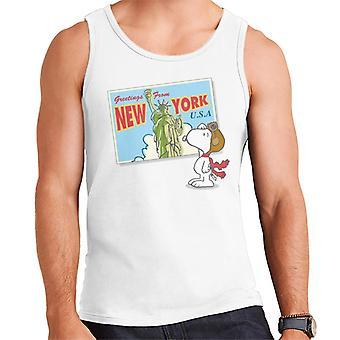 Peanuts Snoopy New York Postcard Design Men's Vest
