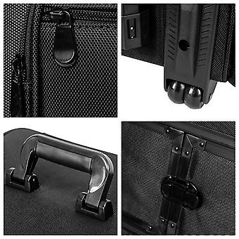 شاني كبير حقيبة تخزين عربة ماكياج تراي - المتداول حالة مستحضرات التجميل مع أقسام قابلة للفصل ومقصورة متعددة - أسود