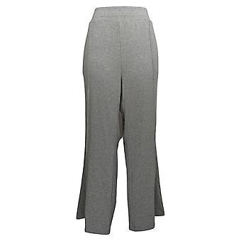 AnyBody Women's Pants Regular Plush Terry Wide Leg Heather Gray A345170