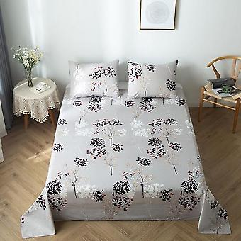 Treetree, Leaves And Geometric Pattern-printed Beds Sheet And Pillowcase