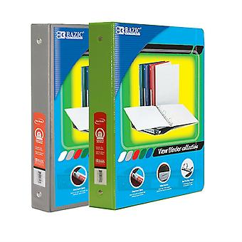 Combo79, BAZIC 1.5 Inch 3-Ring View Binder with 2-Pockets (Case pack of 24 consist 12-Grey & 12-Lime Green)