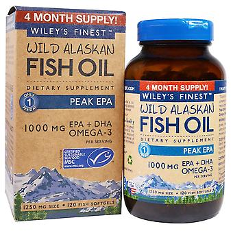 Wiley's Finest, Wild Alaskan Fish Oil, Peak EPA, 1,250 mg, 120 Fish Softgels