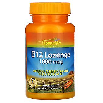 Thompson, B12 Lozenge, Natural Cherry Flavor, 1000 mcg, 30 Lozenges