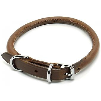 Ancol Leather Round Sewn Collar - Chestnut - Size 4 (18 inch)