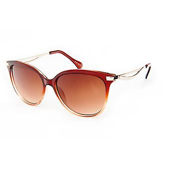 النظارات الشمسية المرأة البانتو البني / الفضة (20-053)