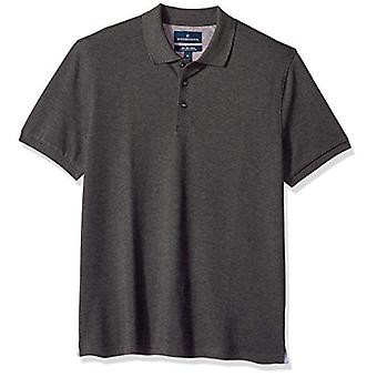 BUTTONED DOWN Men's Slim-Fit Supima Cotton Stretch Pique Polo Shirt, Charcoal...