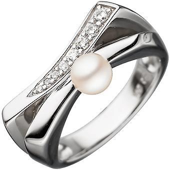 Damen Ring 925 Sterling Silber 1 Süßwasser Perle mit Zirkonia Perlenring  Größe:64