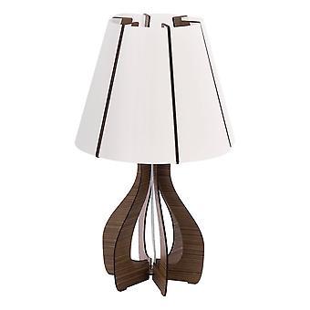 Eglo Cossano - 1 Ljus bordslampa med mörkbrun träbotten, E27