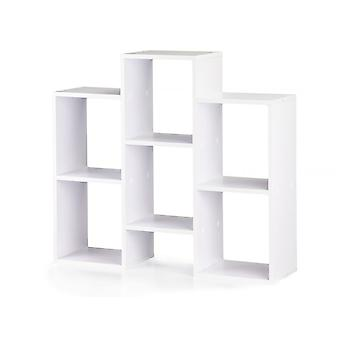 Modern houten boekenkast - 7 opbergvakken - wit