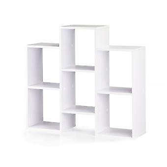 Librería de madera moderna - 7 compartimentos de almacenamiento - blanco