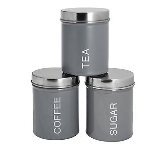 3 Piece Contemporary Tea Coffee Sugar Canister Set - Steel Kitchen Storage Caddy with Rubber Seal - Grey