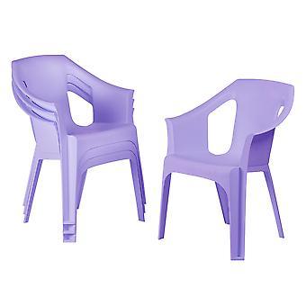 Resol 4 Piece Cool Plastic Garden Chair Set - Stackable UV Resistant Outdoor Patio Armchair - Purple