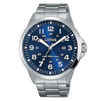 Lorus Mens Sport Blauwe wijzerplaat horloge met roestvrijstalen band (model. RH925GX9)