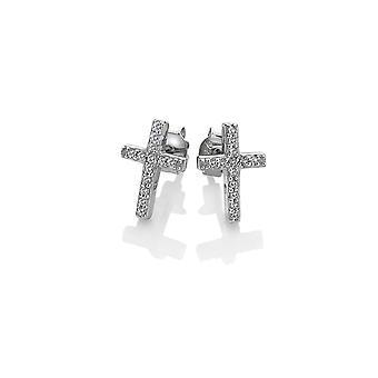 Hete diamanten Sterling zilveren kruis micro Bliss oorbellen DE552