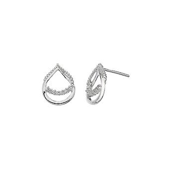 Dew Silver Double Open Teardrop Loop Cubic Zirconia Boucles d'oreilles 3515CZ018