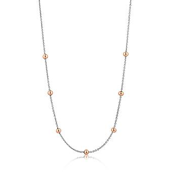 Ania Haie Rhodium Plated With Rose GoldOrbit Beaded Necklace N001-04T