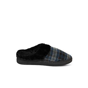 Men's plaid mule slippers