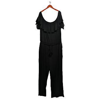 Colleen Lopez Plus Jumpsuits Off-the-Shoulder W/ Lace Detail Black 696-397