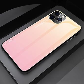 الاشياء المعتمدة® iPhone 12 حالة التدرج - TPU والزجاج 9H - حالة لامعة مضادة للصدمات غطاء الغلاف TPU الأصفر