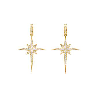 Large Yellow White North Star Burst CZ Bridal Jewellery Gold Drop Earrings