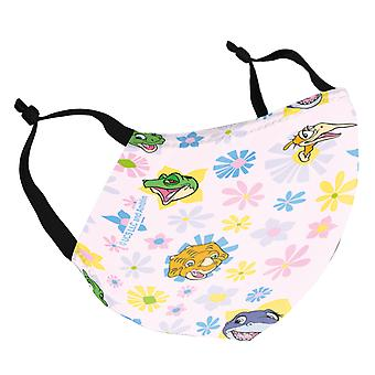 The Land Before Time Character Heads Flowers Pink Adult Reusable Fabric Face Mask