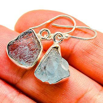 """Grobe Aquamarin Ohrringe 1 1/8 """" (925 Sterling Silber) - handgemachte Boho Vintage Schmuck EARR408037"""