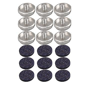 9x Copper Hexagon Trumpet Finger Buttons Kits + Dark Blue Inlays