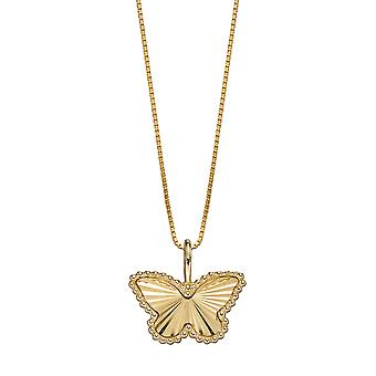Elements Gold 9ct Yellow Gold Granulation & Diamond Cut Butterfly Pendant Necklace of Length 46cm