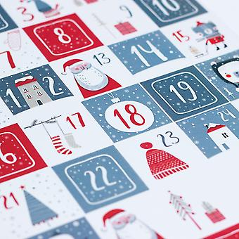 Scandi Style Advent Red White and Grey Sticker Sheet with 35 Stickers