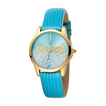 Just Cavalli Women's Firma Turquoise Dial Calfskin Leather Watch