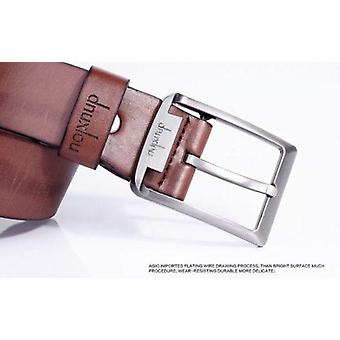 Pu Leather Mens Solid Real Genuine Buckle Belt